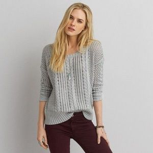 AEO Cable Knit Open Knit Gray Sweater - S